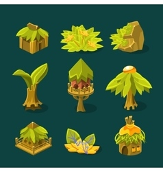 Video game tropical jungle design collection of vector