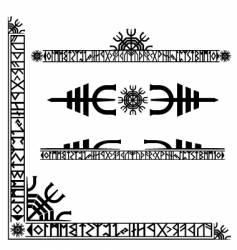 Viking runic corner design vector