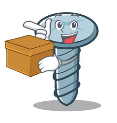 with box screw character cartoon style vector image