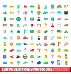 100 public transport icons set cartoon style vector
