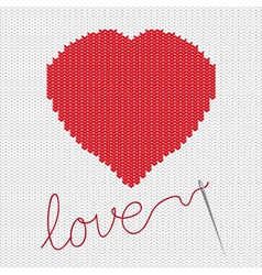 Knitted heart vector