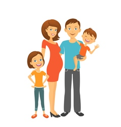 Happy parents mom and dad with kids vector