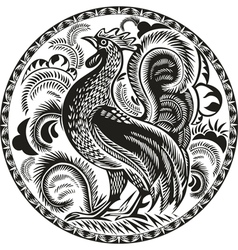 Black and white rooster in a circle with pattern vector