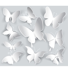 Set of paper butterfly vector image