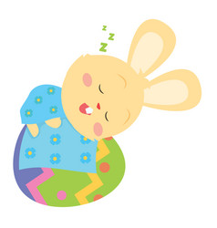 Bunny sleeping in easter egg design style vector