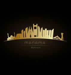 Golden manama city skyline vector