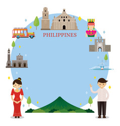 philippines landmarks people in traditional vector image