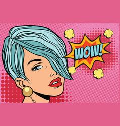 Short hair beautiful girl wow vector