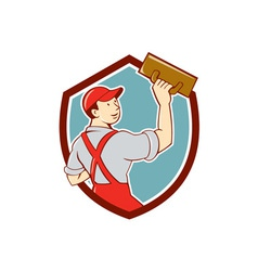 Plasterer masonry trowel shield cartoon vector