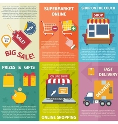 Shopping mini posters set vector
