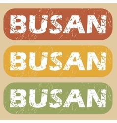 Vintage busan stamp set vector