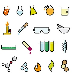 Colorful chemistry icon set vector
