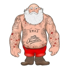 Brutal santa claus bodybuilder tattoos vector