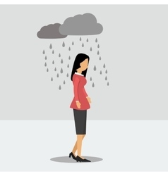 Depressed woman under the rain vector