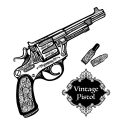 Hand drawn retro pistols vector