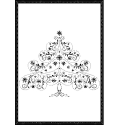 Black tracery christmas tree with snowflakes vector