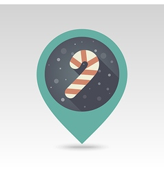 Christmas candy cane flat pin map icon vector