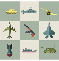 Military equipment and weaponry flat icons vector