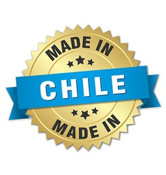 Made in chile gold badge with blue ribbon vector