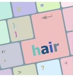 Hair word on computer pc keyboard key vector