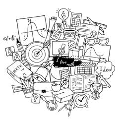 Mathematics science theme Hand drawn pattern vector image