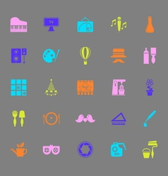 Art activity color icons on gray background vector image vector image