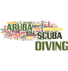 Aruba scuba text background word cloud concept vector