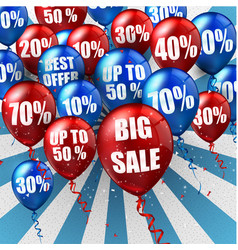 balloons and discounts background vector image vector image
