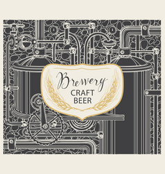 Beer banner with production line retro brewery vector