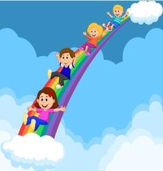 Cartoon kids sliding down a rainbow vector