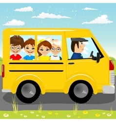 Caucasian school kids riding a schoolbus vector
