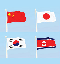 China japan south korea and north korea flags vector