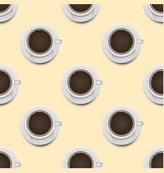 coffee cups top view realistic 3d seamless pattern vector image