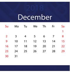 December 2018 calendar popular blue premium for vector