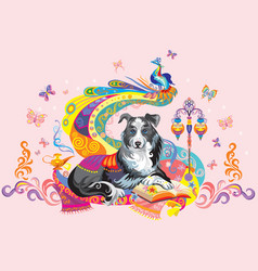 Dog the symbol of new year 2018 vector