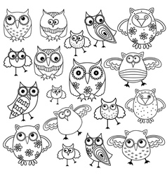 Eighty funny owls black outlines vector image vector image