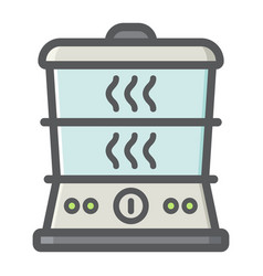 food steamer colorful line icon kitchen appliance vector image vector image