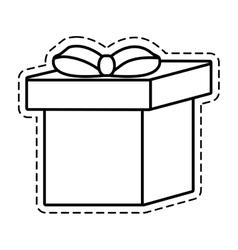 Gift box ribbon cube decorative cut line vector