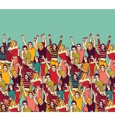 Group happy young people audience and sky color vector image vector image