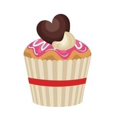 happy birthday delicious cupcake vector image vector image