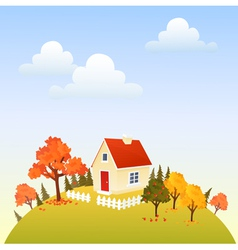 House in fall vector image vector image