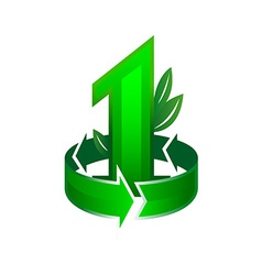 Leader in ecological theme sign Number one with vector image