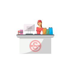 Mall checkout counter with cashier icon vector