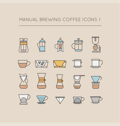 Manual brewing coffee icons 1 vector