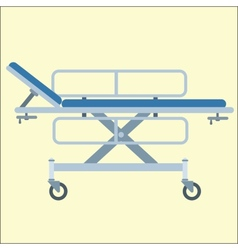 Medical stretcher bed on wheels vector