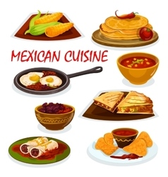 Mexican cuisine national dishes icon vector