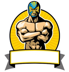Mexican wrestler pose vector