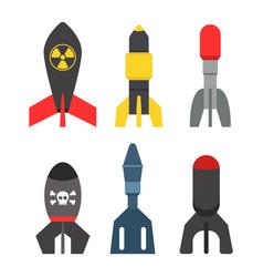 Missile rocket set icon vector