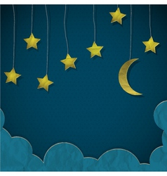 Moon and stars made from paper vector image vector image