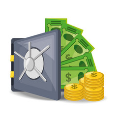 Open safe with a lot of money saved vector